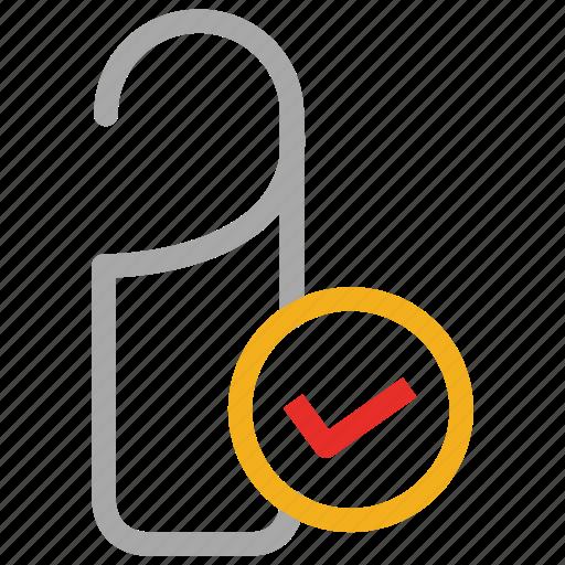 checkmark, door knob, door tag, tag icon