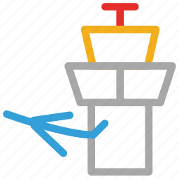 air traffic control, airport tower, control tower, plane icon