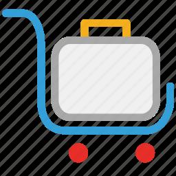 luggage cart, luggage trolley, platform truck, trolley for luggage icon