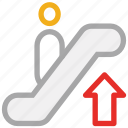 automated stairs, escalator, staircase, upstairs icon