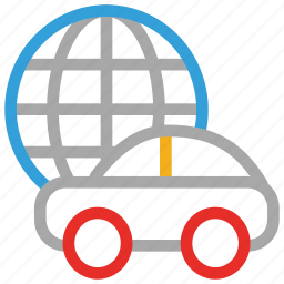 car, globe, travel, world tour icon