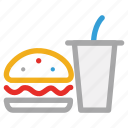 burger, drink, junk food, fast food