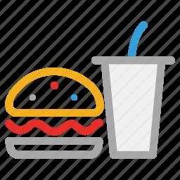 burger, drink, fast food, junk food icon