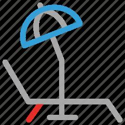 beach, deck chair, summer, umbrella icon