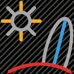 sea, sun, surfboard, surfing icon