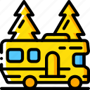 journey, motorhome, tourist, transport, travel icon