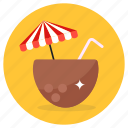 coconut, water, coconut water, fresh coconut, coconut milk, refreshing drink, tropical drink icon
