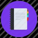 notebook, scrapbook, drafting pad, notepad, writing tool, jotter, diary