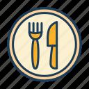 restaurant, fork, knife, plate