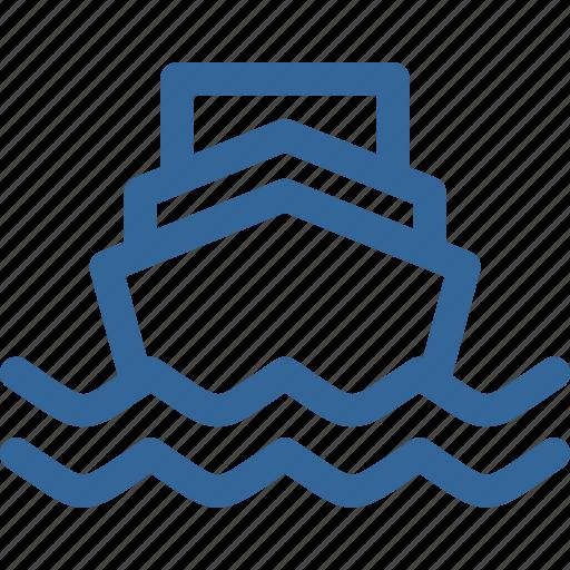 ocean, ship, transportation, wave icon