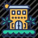 building, hotel, resort, vacation icon