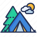 camping, forest, tent, tourism icon