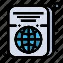 id, passport, ticket, travel icon
