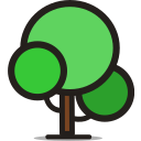 forest, green, plant, round tree, tree icon