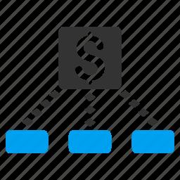 bank links, cash flow, cashout, diagram, financial chart, network, scheme icon