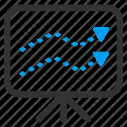 board, chart, dotted line, graph, presentation, statistics, trends icon