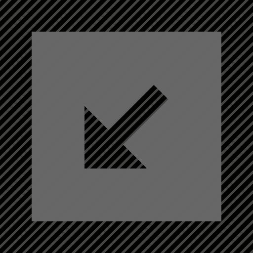 arrow, bottom, left, solid, square icon
