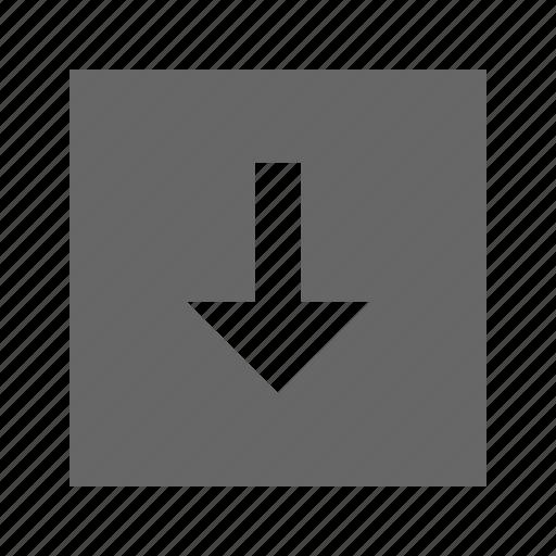 arrow, down, solid, square icon