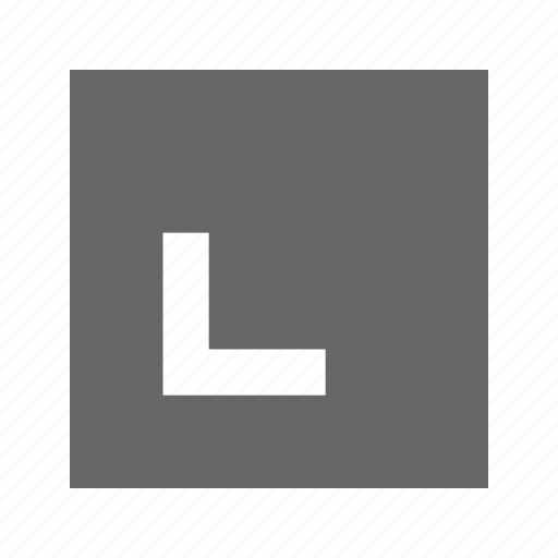 bottom, left, solid, square icon