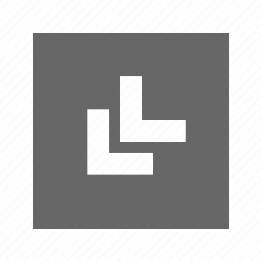 bottom, chevron, left, solid, square icon