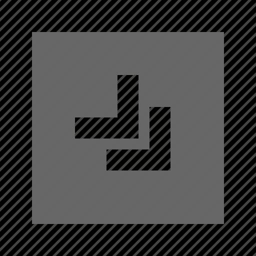 bottom, chevron, right, solid, square icon