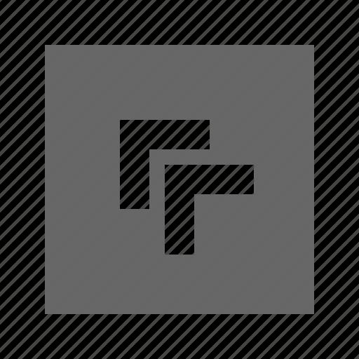 chevron, left, solid, square, top icon