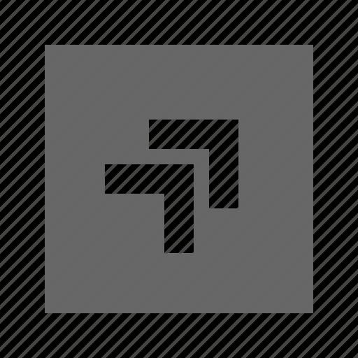 chevron, right, solid, square, top icon
