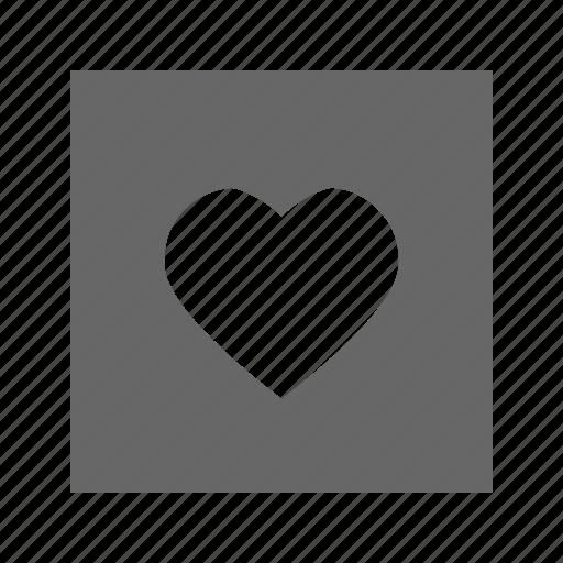 heart, solid, square icon