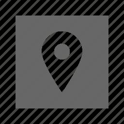 location, pin, solid, square icon