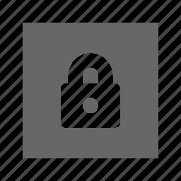lock, solid, square icon