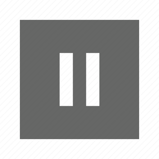 pause, solid, square icon