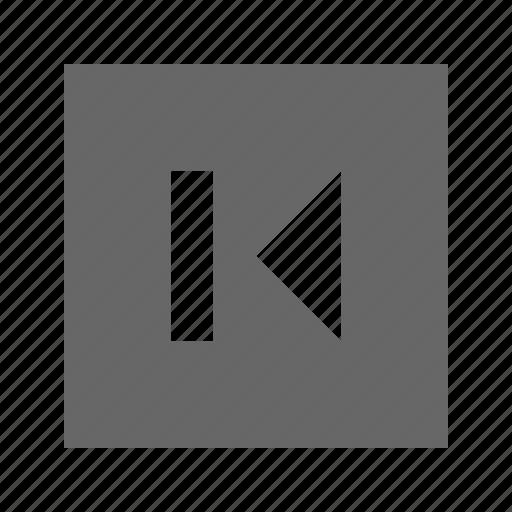 back, skip, solid, square icon