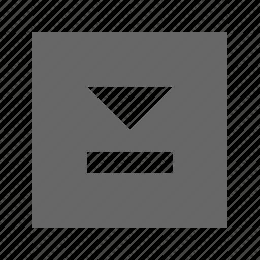 down, skip, solid, square icon