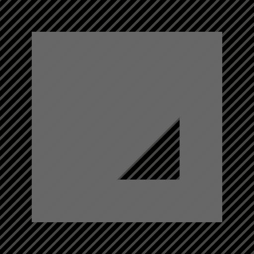 bottom, right, solid, square, triangle icon