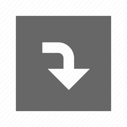 down, right, solid, square, turn icon