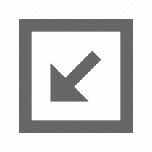 arrow, bottom, left, square icon
