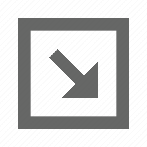 arrow, bottom, right, square icon