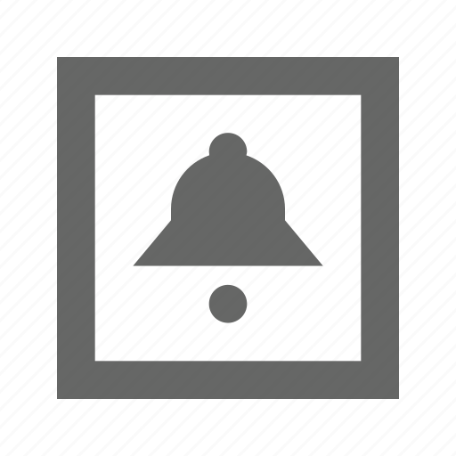 alarm, alert, bell, notification, ring, sound, square icon