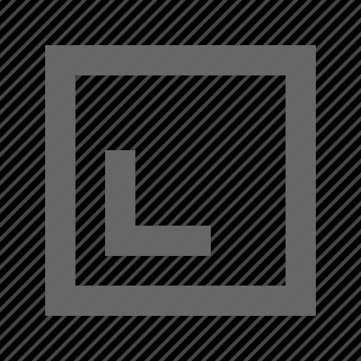 bottom, left, square icon
