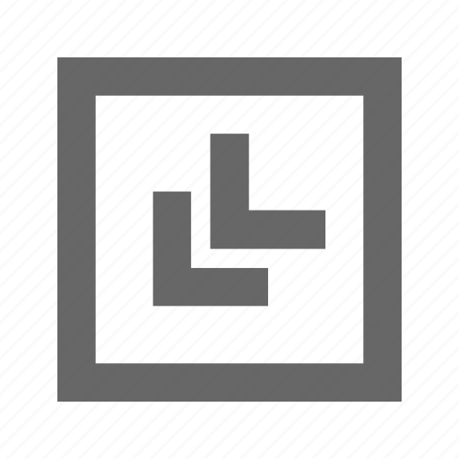 bottom, chevron, left, square icon