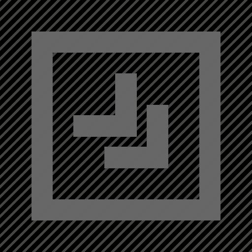 bottom, chevron, right, square icon