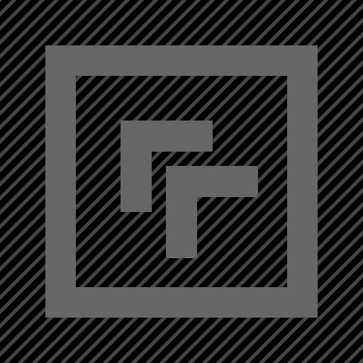 chevron, left, square, top icon