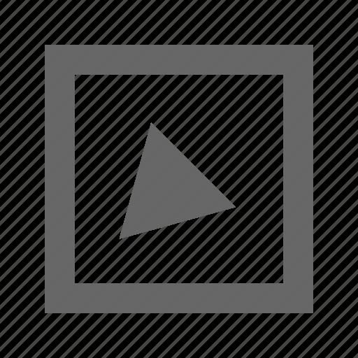 alt, bottom, left, square, triangle icon