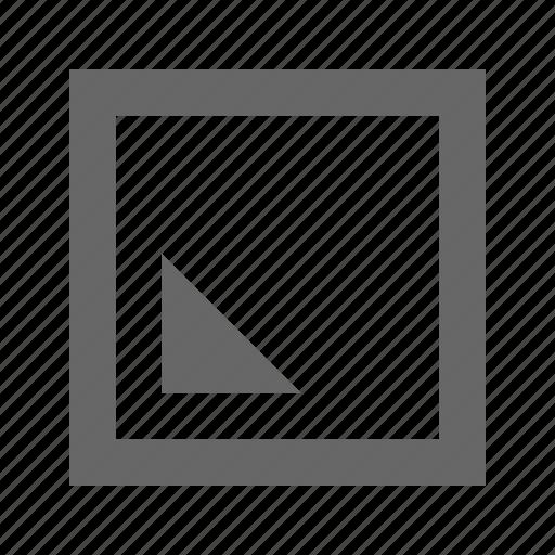 bottom, left, square, triangle icon