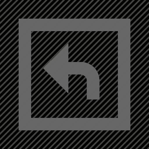left, square, turn icon