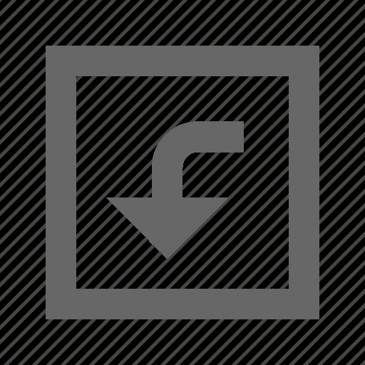 down, left, square, turn icon