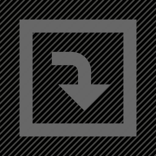 down, right, square, turn icon