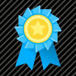 achievement, award, awards, blue, medal, ribbon, trophy icon
