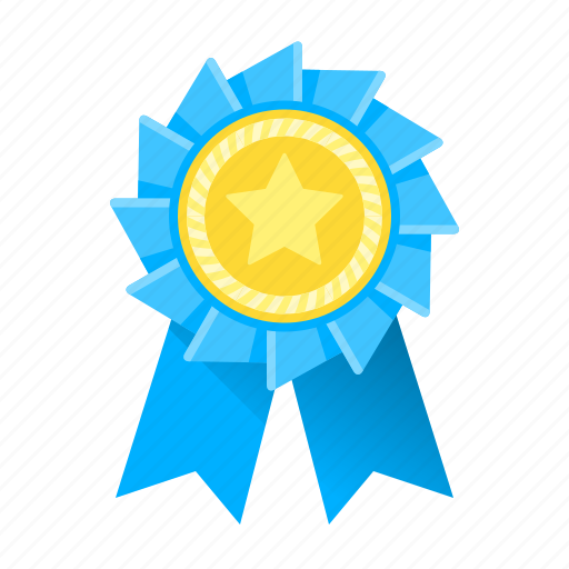 Achievement Award Awards Blue Medal Ribbon Trophy Icon
