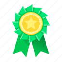 green, medal, trophy, achievement, award, prize, ribbon